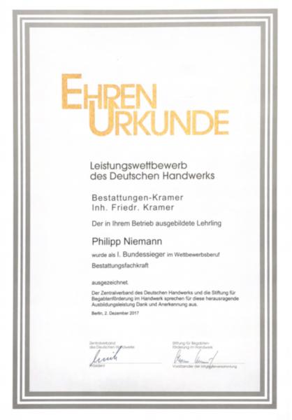Ausbildung - Ehrenurkunde Philipp